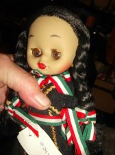 "COLLECTABLE INDICO VINYL JOINTED COSTUME DOLL MEXICO OPEN CLOSE EYES 7"" WITH TAG"